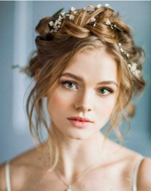 Bridal Hairstyle with Fresh Baby's Breath