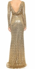 Gold Sequin Bridesmaid's Dress with Sleeves and Cowl Back