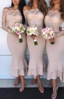 Bridesmaids' Dress in blush with lace bodice and midi length mermaid tiered ruffles