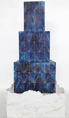 Blue Art Deco Tiered Cake