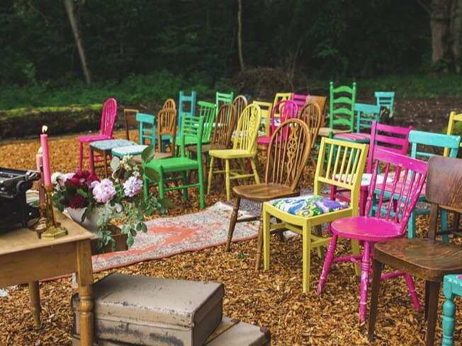 Refurbish resale chairs with bright colors